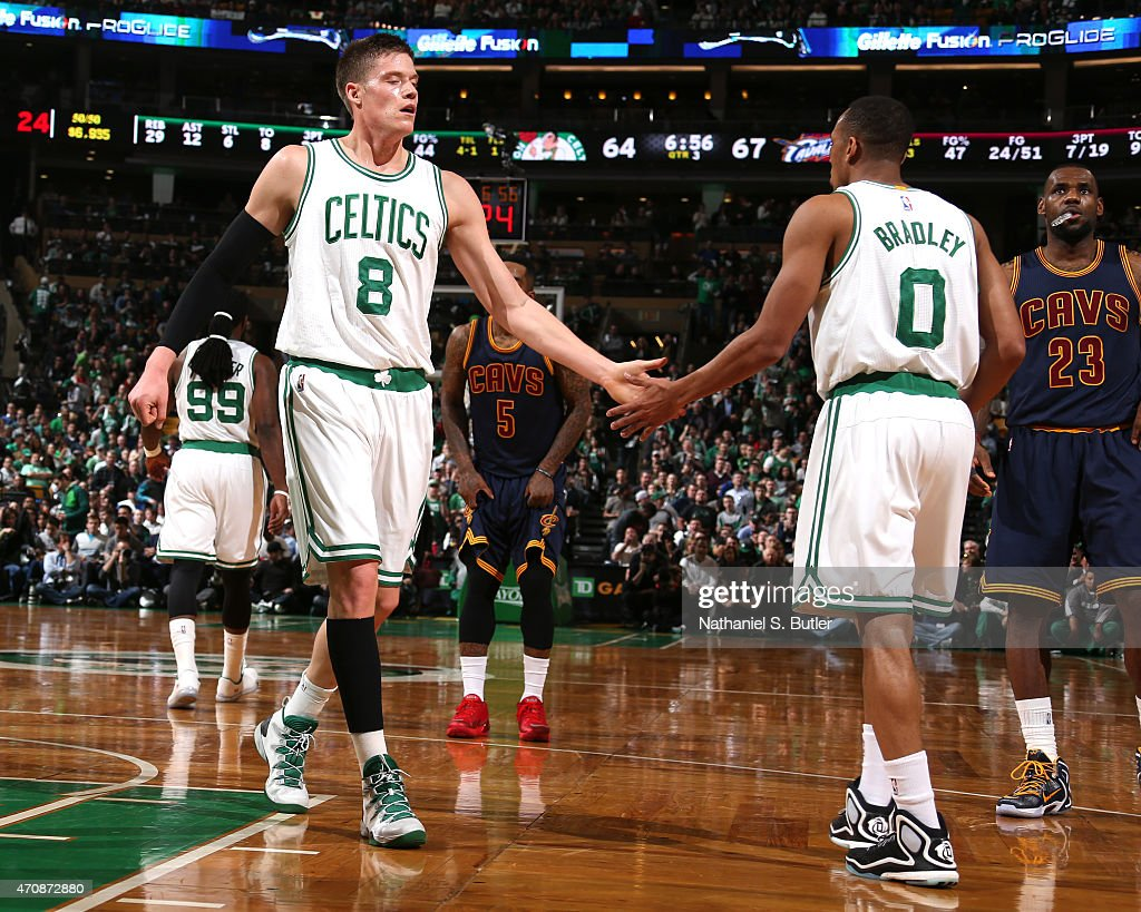 Jonas Jerebko and Avery Bradley of the Boston Celtics against the Cleveland Cavaliers during Game Three of the Eastern Conference Quarterfinals of...