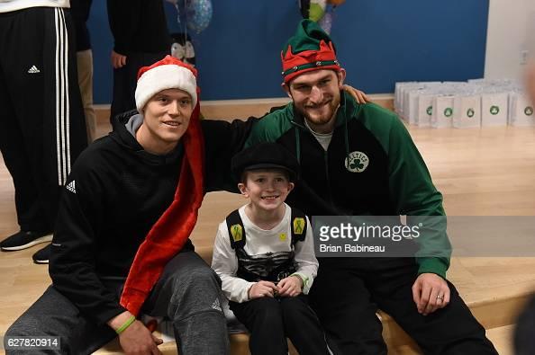 Jonas Jerebko and Tyler Zeller of the Boston Celtics spread holiday cheer duing a children's hospital visit on December 1 2016 at Boston Children's...