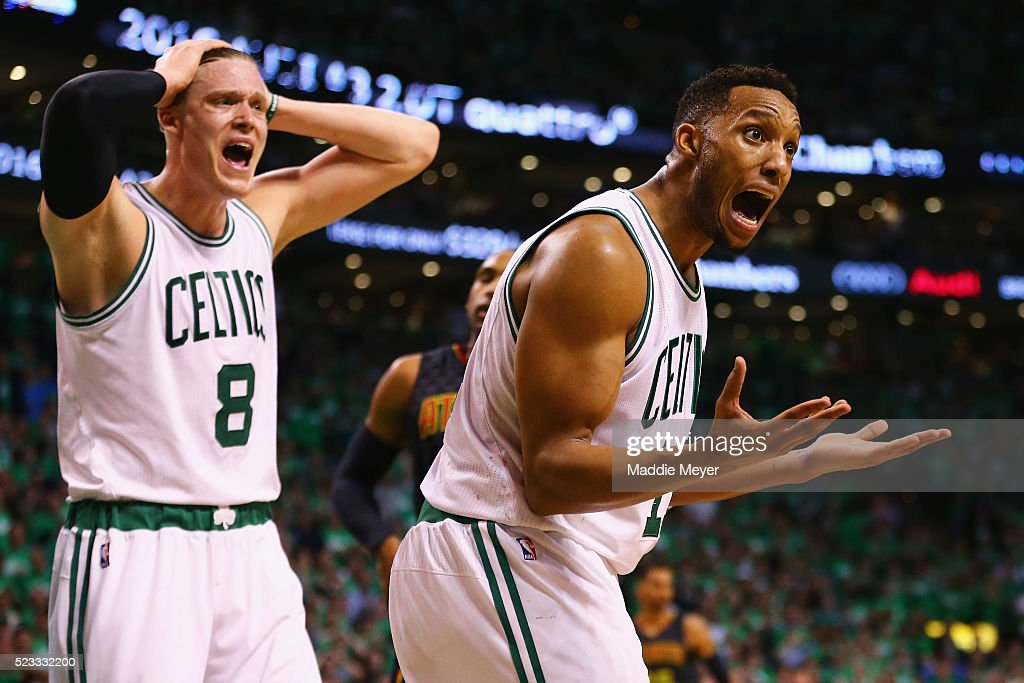 <a gi-track='captionPersonalityLinkClicked' href=/galleries/search?phrase=Jonas+Jerebko&family=editorial&specificpeople=5942357 ng-click='$event.stopPropagation()'>Jonas Jerebko</a> #8 of the Boston Celtics and <a gi-track='captionPersonalityLinkClicked' href=/galleries/search?phrase=Evan+Turner&family=editorial&specificpeople=4665764 ng-click='$event.stopPropagation()'>Evan Turner</a> #11 react after a foul was called against Turner during the fourth quarter of Game Three of the Eastern Conference Quarterfinals during the 2016 NBA Playoffs against the Atlanta Hawks at TD Garden on April 22, 2016 in Boston, Massachusetts. The Celtics defeat the Hawks 111-103. NOTE TO USER User expressly acknowledges and agrees that, by downloading and or using this photograph, user is consenting to the terms and conditions of the Getty Images License Agreement.