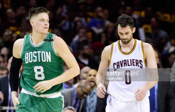 Jonas Jerebko of the Boston Celtics and Kevin Love of the Cleveland Cavaliers react in the second half during Game Three of the 2017 NBA Eastern...