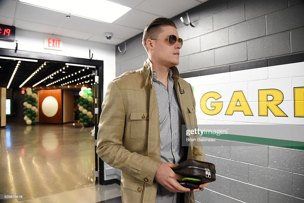 Jonas Jerebko of the Boston Celtics arrives to the areana before the game against the Boston Celtics in Game Six of the Eastern Conference...