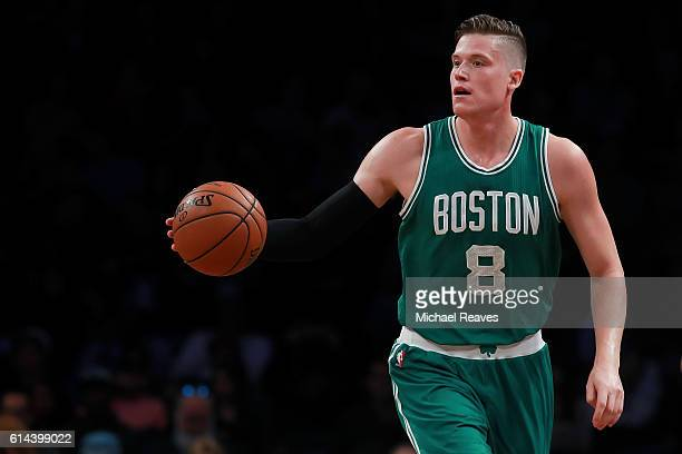 Jonas Jerebko of the Boston Celtics dribbles up the court during the preseason game against the Brooklyn Nets at Barclays Center on October 13 2016...