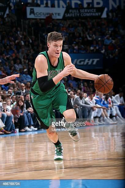 Jonas Jerebko of the Boston Celtics drives against the Oklahoma City Thunder on March 18 2015 at the Chesapeake Energy Arena in Oklahoma City...