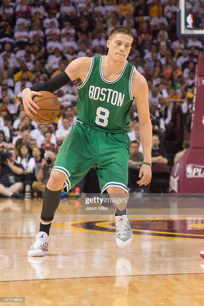 Jonas Jerebko of the Boston Celtics drives in the second half against the Cleveland Cavaliers during Game One in the Eastern Conference Quarterfinals...