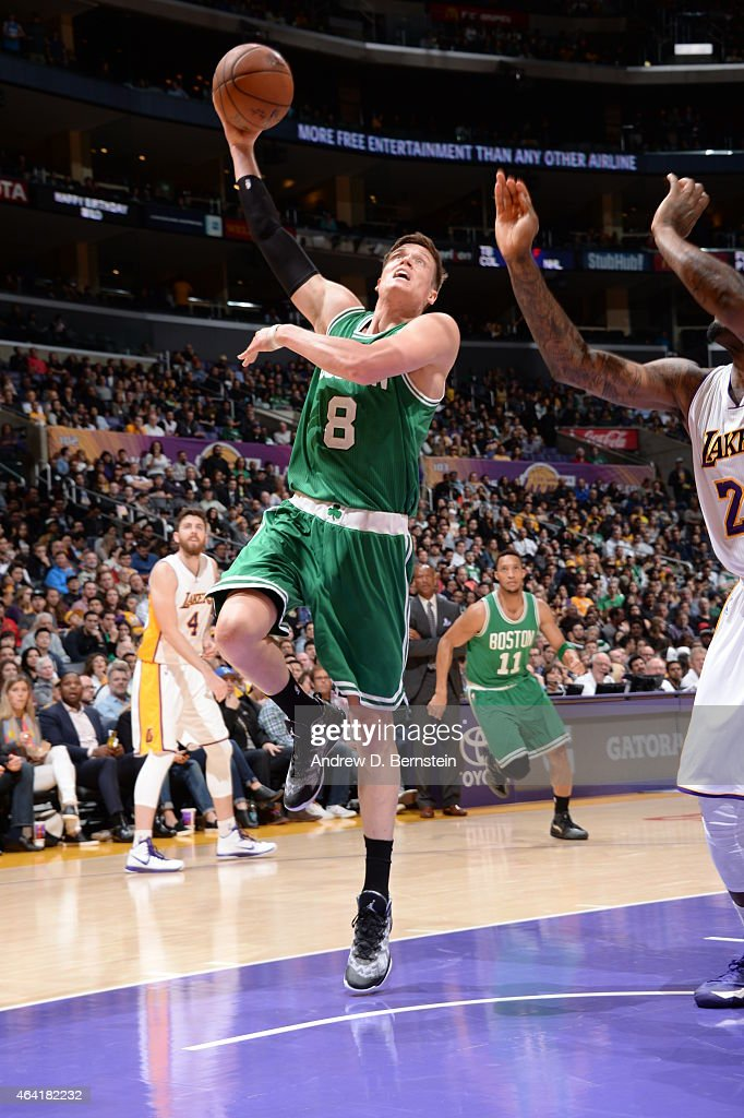 Jonas Jerebko of the Boston Celtics drives to the basket against the Los Angeles Lakers on February 22 2015 at Staples Center in Los Angeles...