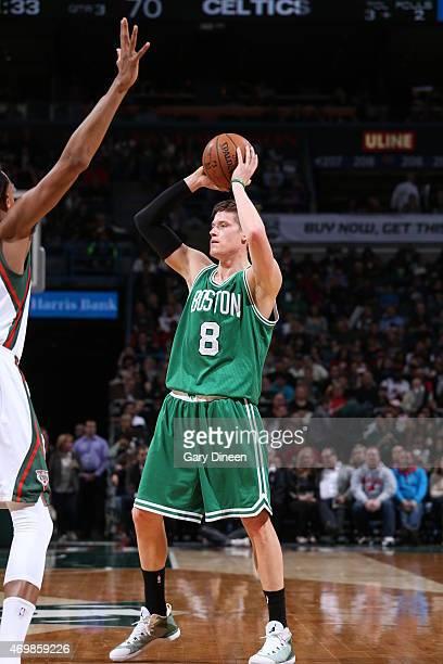 Jonas Jerebko of the Boston Celtics handles the ball against the Milwaukee Bucks on April 15 2015 at the BMO Harris Bradley Center in Milwaukee...
