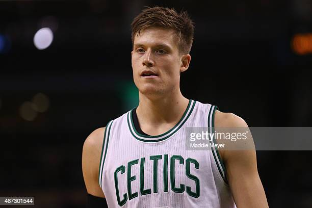 Jonas Jerebko of the Boston Celtics looks on during overtime at TD Garden on March 22 2015 in Boston Massachusetts NOTE TO USER User expressly...