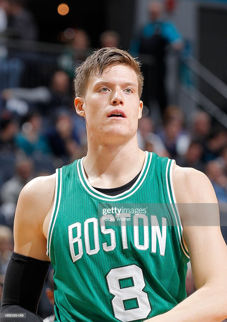 Jonas Jerebko of the Boston Celtics looks on during the game against the Charlotte Hornets on March 30 2015 at Time Warner Cable Arena in Charlotte...