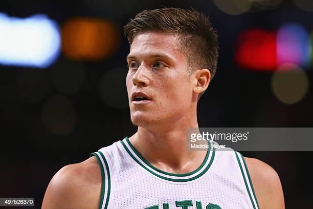 Jonas Jerebko of the Boston Celtics looks on during the game against the Atlanta Hawks at TD Garden on November 13 2015 in Boston Massachusetts The...
