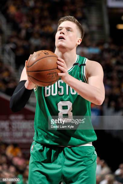 Jonas Jerebko of the Boston Celtics shoots a free throw during the game against the Cleveland Cavaliers in Game Four of the Eastern Conference Finals...