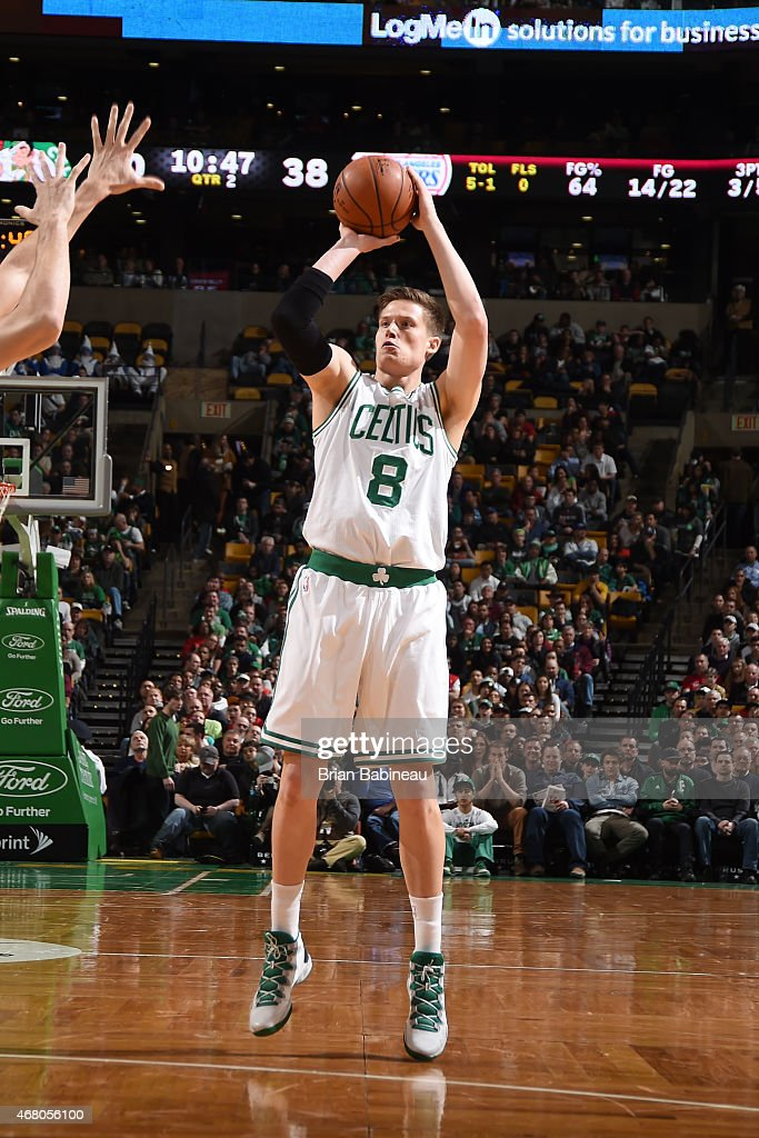 Jonas Jerebko of the Boston Celtics shoots against the Los Angeles Clippers on March 29 2015 at TD Garden in Boston Massachusetts NOTE TO USER User...