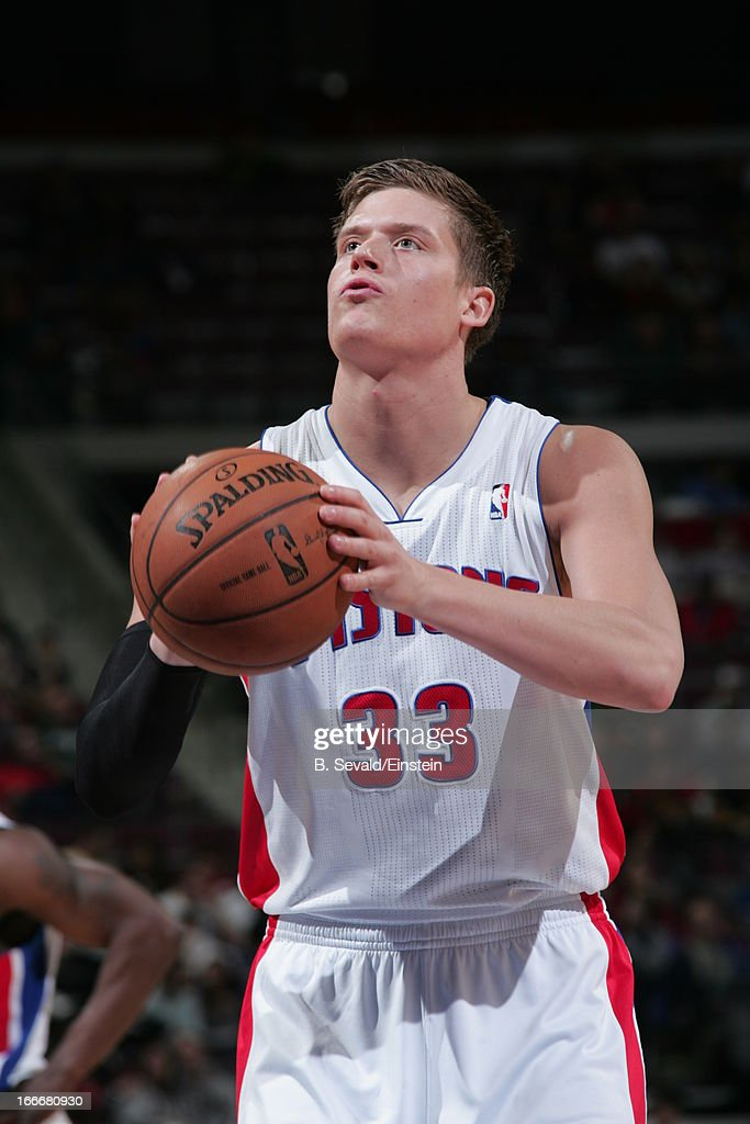 Jonas Jerebko #33 of the Detroit Pistons aims for a free throw during the game between the Detroit Pistons and the Philadelphia 76ers on April 15, 2013 at The Palace of Auburn Hills in Auburn Hills, Michigan.