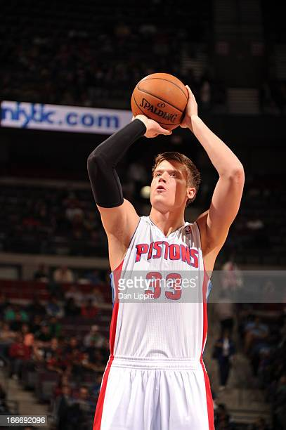 Jonas Jerebko of the Detroit Pistons aims for a free throw during the game between the Detroit Pistons and the Philadelphia 76ers on April 15 2013 at...