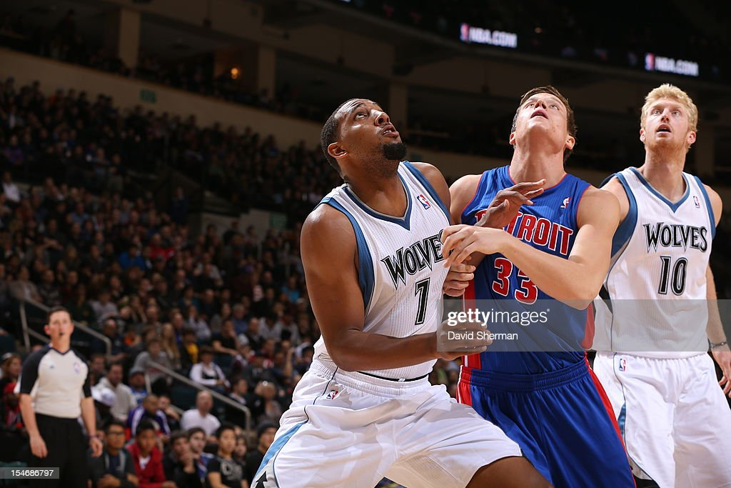 Jonas Jerebko #33 of the Detroit Pistons amd Derrick Williams #7 and Chase Budinger #10 of the Minnesota Timberwolves wait for a rebound during the game between the Minnesota Timberwolves and the Detroit Pistons during the NBA preseason as part of NBA Canada Series 2012 on October 24, 2012 at the MTS Centre in Winnipeg, Manitoba, Canada.