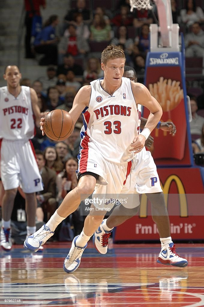 Jonas Jerebko of the Detroit Pistons drives the ball up court during the game against the Utah Jazz at the Palace of Auburn Hills on March 10 2010 in...