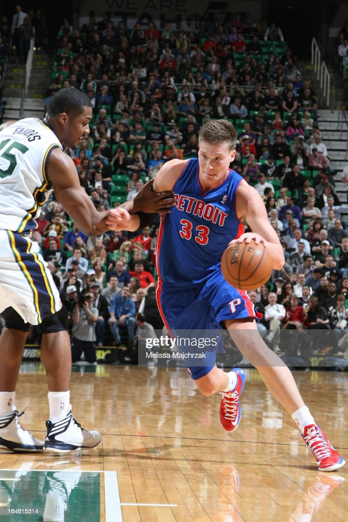 <a gi-track='captionPersonalityLinkClicked' href=/galleries/search?phrase=Jonas+Jerebko&family=editorial&specificpeople=5942357 ng-click='$event.stopPropagation()'>Jonas Jerebko</a> #33 of the Detroit Pistons drives to the basket against the Utah Jazz on March 11, 2013 in Salt Lake City, Utah.