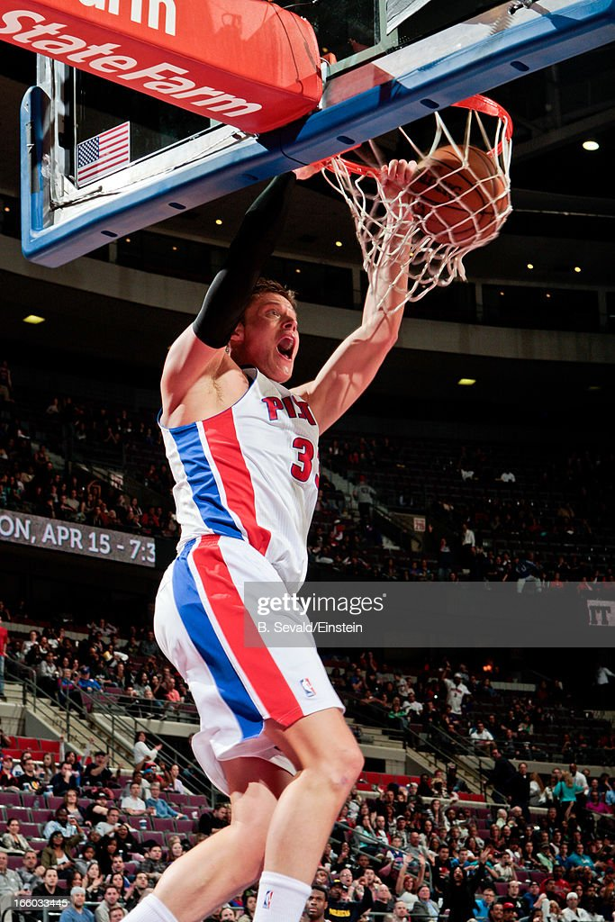 <a gi-track='captionPersonalityLinkClicked' href=/galleries/search?phrase=Jonas+Jerebko&family=editorial&specificpeople=5942357 ng-click='$event.stopPropagation()'>Jonas Jerebko</a> #33 of the Detroit Pistons dunks against the Chicago Bulls on April 7, 2013 at The Palace of Auburn Hills in Auburn Hills, Michigan.