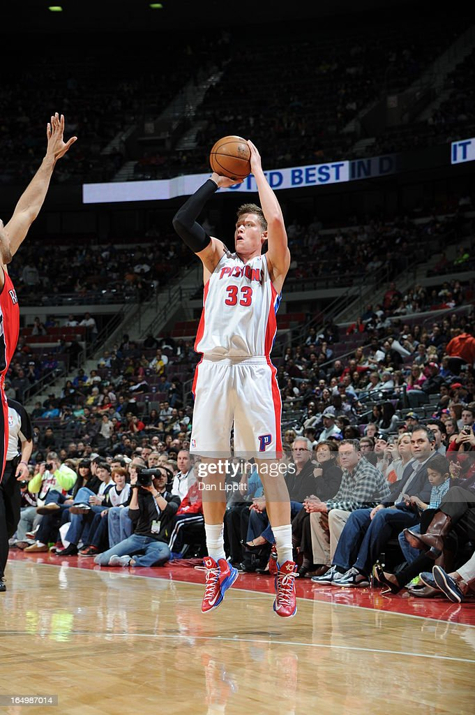 Jonas Jerebko #33 of the Detroit Pistons goes for a jump shot during the game between the Detroit Pistons and the Toronto Raptors on March 29, 2013 at The Palace of Auburn Hills in Auburn Hills, Michigan.