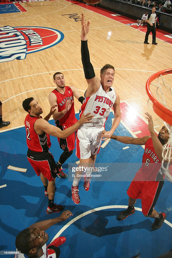 Jonas Jerebko #33 of the Detroit Pistons goes to the basket during the game between the Detroit Pistons and the Toronto Raptors on March 29, 2013 at The Palace of Auburn Hills in Auburn Hills, Michigan.