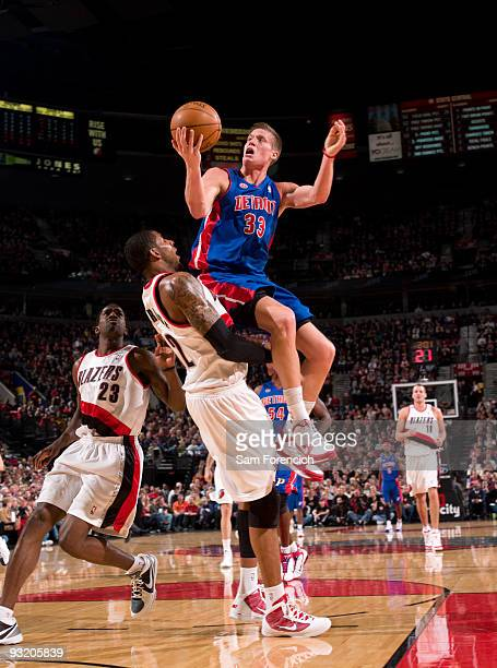 Jonas Jerebko of the Detroit Pistons goes up for a shot over LaMarcus Aldridge of the Portland Trail Blazers during a game on November 18 2009 at the...