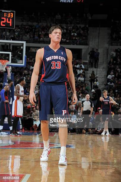 Jonas Jerebko of the Detroit Pistons looks on against the Miami Heat during the game on December 8 2013 at The Palace of Auburn Hills in Auburn Hills...