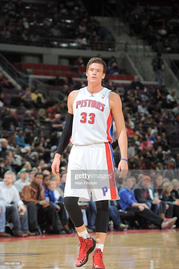Jonas Jerebko of the Detroit Pistons looks on during the game against the Cleveland Cavaliers on February 1 2013 at The Palace of Auburn Hills in...
