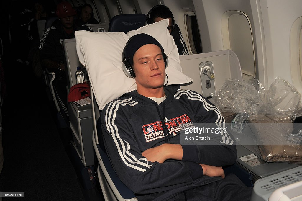Jonas Jerebko of the Detroit Pistons on the airplane as the Pistons travel to London for a game against the New York Knicks as part of the NBA London...