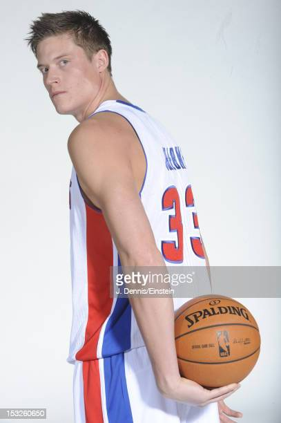Jonas Jerebko of the Detroit Pistons poses during media day on October 1 2012 at The Palace of Auburn Hills in Auburn Hills Michigan NOTE TO USER...