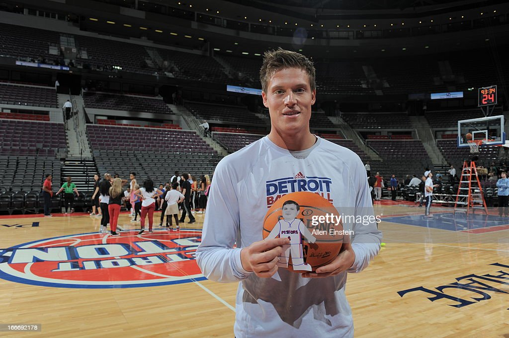 Jonas Jerebko #33 of the Detroit Pistons poses for a photo during the game between the Detroit Pistons and the Philadelphia 76ers on April 15, 2013 at The Palace of Auburn Hills in Auburn Hills, Michigan.