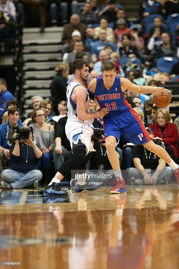 <a gi-track='captionPersonalityLinkClicked' href=/galleries/search?phrase=Jonas+Jerebko&family=editorial&specificpeople=5942357 ng-click='$event.stopPropagation()'>Jonas Jerebko</a> #33 of the Detroit Pistons posts up against the Minnesota Timberwolves during the game on March 7, 2014 at Target Center in Minneapolis, Minnesota.