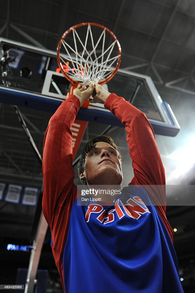 Jonas Jerebko of the Detroit Pistons prepares on the court before the game against the New York Knicks on November 19 2013 at The Palace of Auburn...