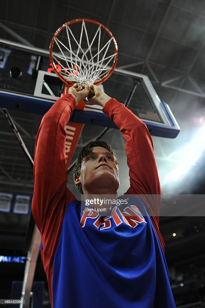 <a gi-track='captionPersonalityLinkClicked' href=/galleries/search?phrase=Jonas+Jerebko&family=editorial&specificpeople=5942357 ng-click='$event.stopPropagation()'>Jonas Jerebko</a> #33 of the Detroit Pistons prepares on the court before the game against the New York Knicks on November 19, 2013 at The Palace of Auburn Hills in Auburn Hills, Michigan.