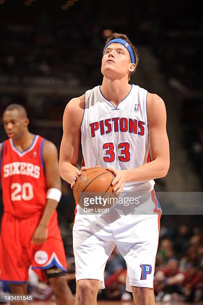 Jonas Jerebko of the Detroit Pistons prepares to shoot a jump shot during the game between the Detroit Pistons and the Philadelphia 76ers on April 26...
