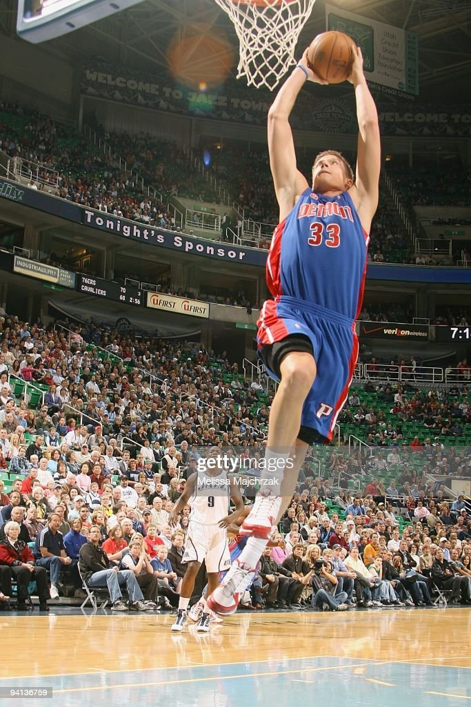 Jonas Jerebko of the Detroit Pistons puts up a shot during the game against the Utah Jazz on November 21 2009 at EnergySolutions Arena in Salt Lake...