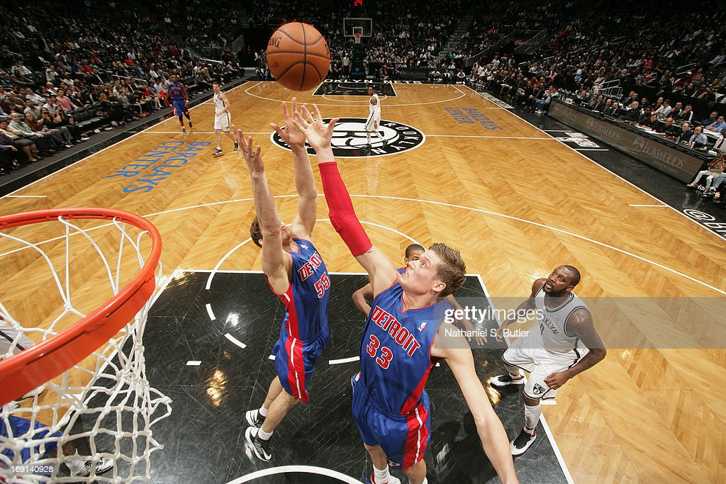 Jonas Jerebko #33 of the Detroit Pistons reaches for a rebound against the Brooklyn Nets on April 17, 2013 at the Barclays Center in the Brooklyn borough of New York City.