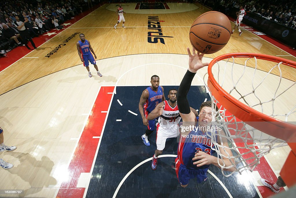 <a gi-track='captionPersonalityLinkClicked' href=/galleries/search?phrase=Jonas+Jerebko&family=editorial&specificpeople=5942357 ng-click='$event.stopPropagation()'>Jonas Jerebko</a> #33 of the Detroit Pistons rebounds against the Washington Wizards at the Verizon Center on February 27, 2013 in Washington, DC.