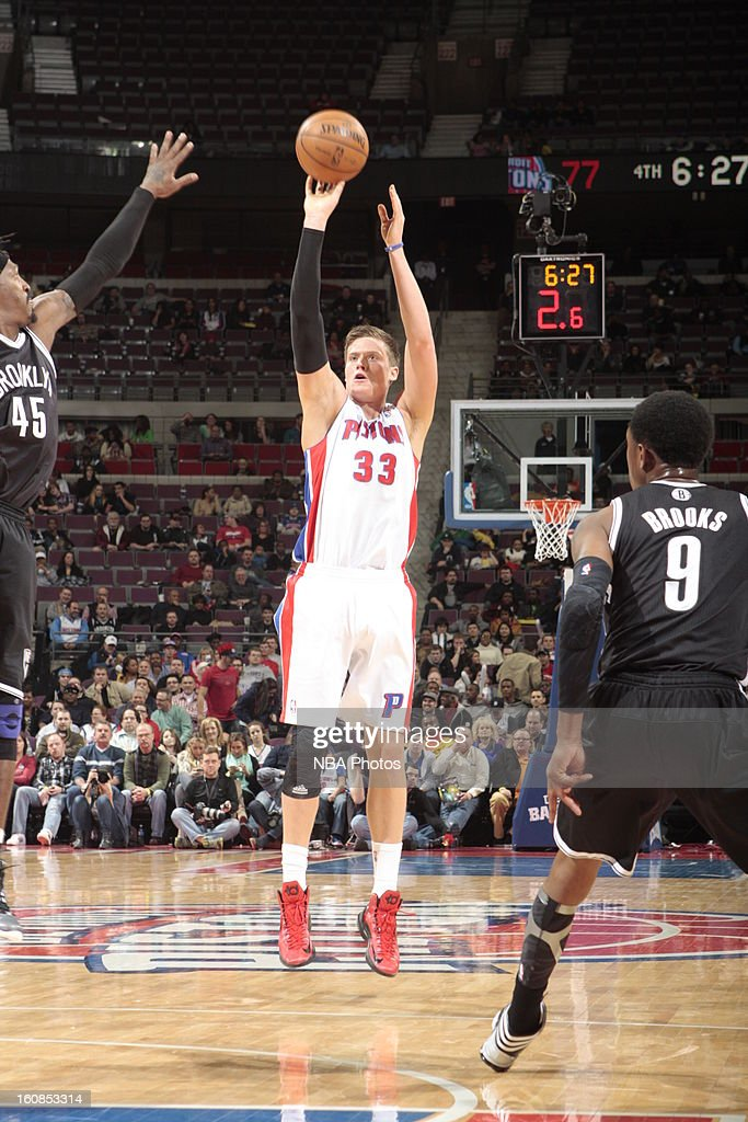 <a gi-track='captionPersonalityLinkClicked' href=/galleries/search?phrase=Jonas+Jerebko&family=editorial&specificpeople=5942357 ng-click='$event.stopPropagation()'>Jonas Jerebko</a> #33 of the Detroit Pistons shoots a jumper against the Brooklyn Nets on February 6, 2013 at The Palace of Auburn Hills in Auburn Hills, Michigan.