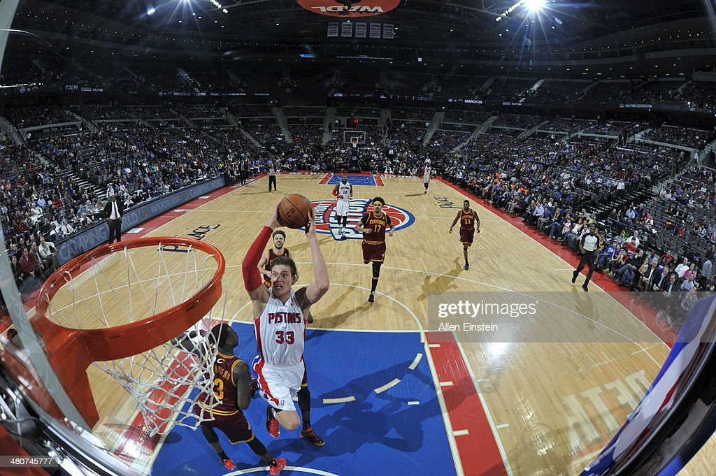 <a gi-track='captionPersonalityLinkClicked' href=/galleries/search?phrase=Jonas+Jerebko&family=editorial&specificpeople=5942357 ng-click='$event.stopPropagation()'>Jonas Jerebko</a> #33 of the Detroit Pistons shoots against the Cleveland Cavaliers on March 26, 2014 at The Palace of Auburn Hills in Auburn Hills, Michigan.