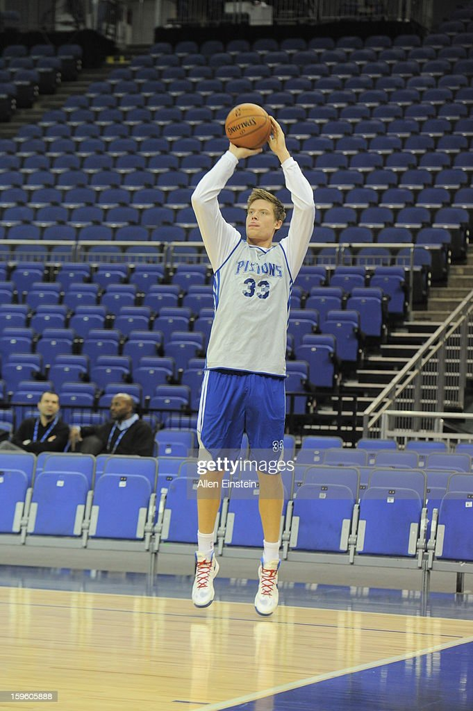 Jonas Jerebko #33 of the Detroit Pistons shoots the ball during practice at the O2 Arena as part of London Live 2013 on January 16, 2013 in London, England.