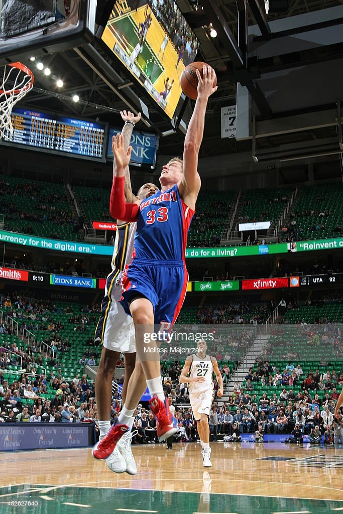<a gi-track='captionPersonalityLinkClicked' href=/galleries/search?phrase=Jonas+Jerebko&family=editorial&specificpeople=5942357 ng-click='$event.stopPropagation()'>Jonas Jerebko</a> #33 of the Detroit Pistons takes a shot against the Utah Jazz at EnergySolutions Arena on March 24, 2014 in Salt Lake City, Utah.