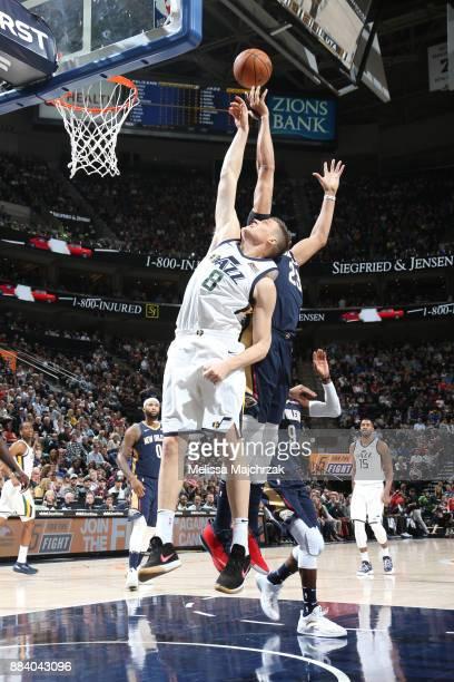 Jonas Jerebko of the Utah Jazz goes up for a rebound against the New Orleans Pelicans on December 1 2017 at vivintSmartHome Arena in Salt Lake City...