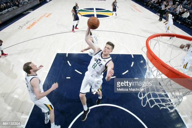 Jonas Jerebko of the Utah Jazz grabs the rebound against the New Orleans Pelicans on December 1 2017 at vivintSmartHome Arena in Salt Lake City Utah...