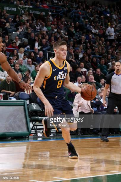 Jonas Jerebko of the Utah Jazz handles the ball against the Milwaukee Bucks on December 9 2017 at the BMO Harris Bradley Center in Milwaukee...