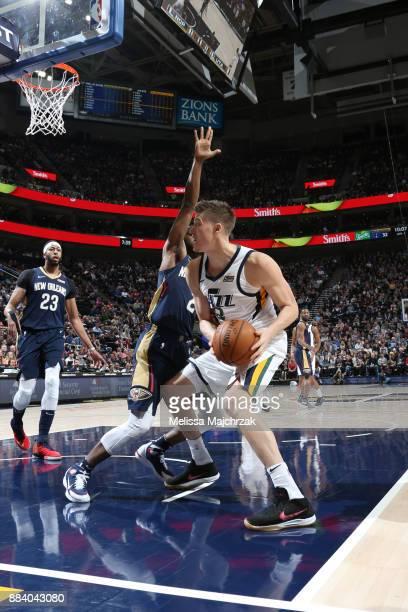 Jonas Jerebko of the Utah Jazz handles the ball against the New Orleans Pelicans on December 1 2017 at vivintSmartHome Arena in Salt Lake City Utah...