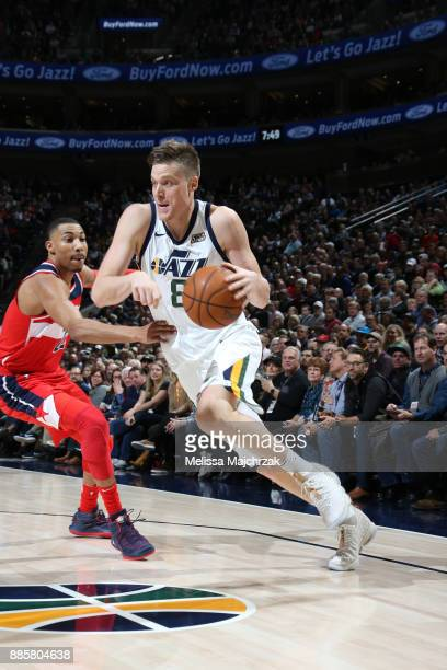 Jonas Jerebko of the Utah Jazz handles the ball against the Washington Wizards on December 4 2017 at Vivint Smart Home Arena in Salt Lake City Utah...