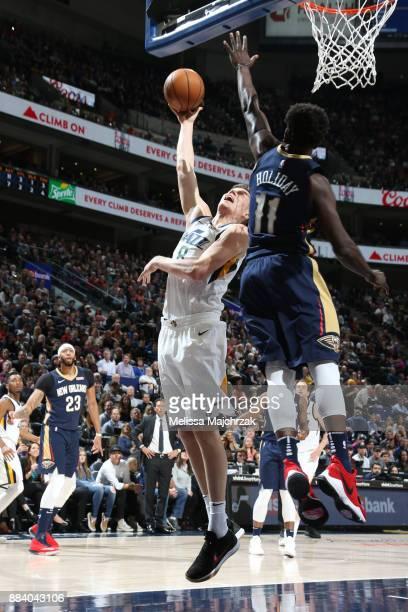 Jonas Jerebko of the Utah Jazz shoots the ball against the New Orleans Pelicans on December 1 2017 at vivintSmartHome Arena in Salt Lake City Utah...