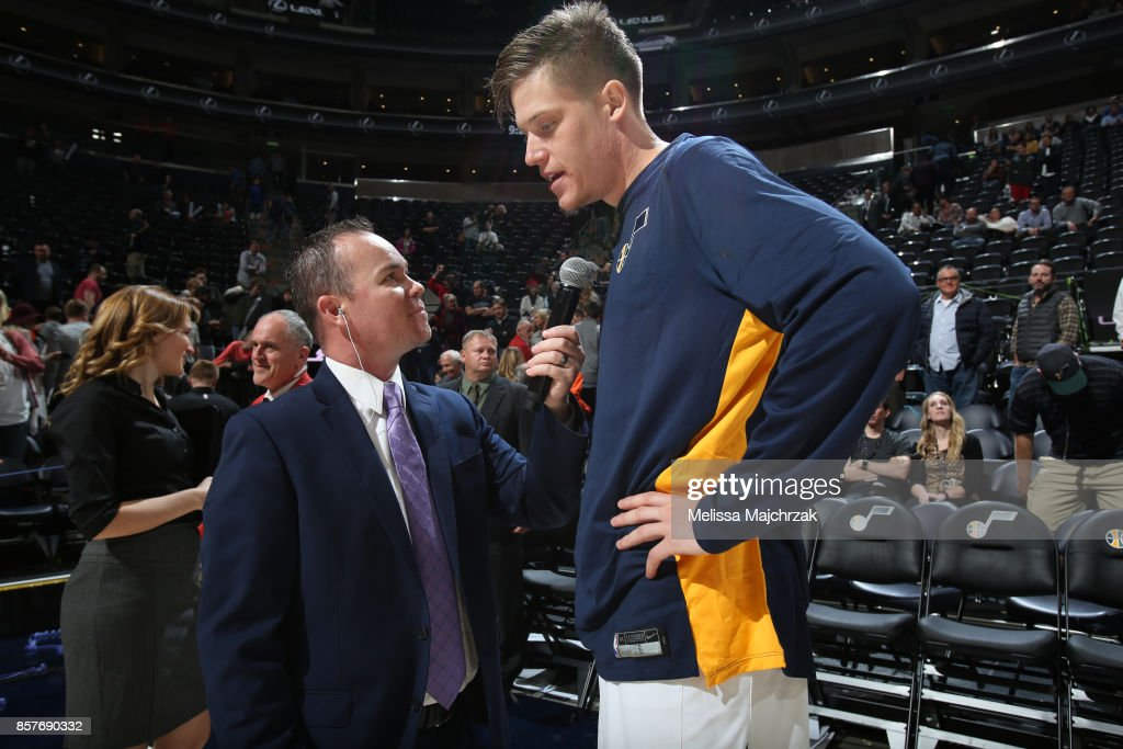 Jonas Jerebko #8 of the Utah Jazz talks with media after the game against the Maccabi Haifa during a preseason game on October 4, 2017 at vivint.SmartHome Arena in Salt Lake City, Utah.