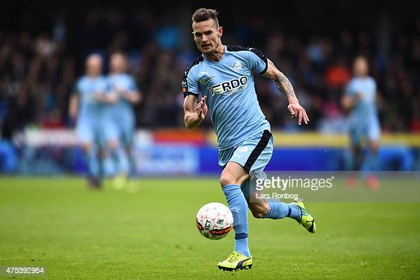 Jonas Kamper of Randers FC controls the ball during the Danish Alka Superliga match between Randers FC and Brondby IF at AutoC Park on May 31 2015 in...