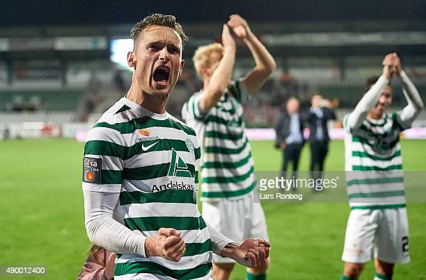 Jonas Kamper of Viborg FF celebrate their victory after the Danish Alka Superliga match between Viborg FF and AaB Aalborg at Energi Viborg Arena on...