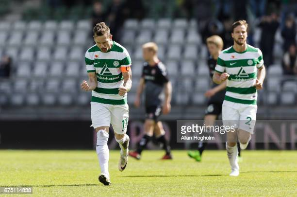 Jonas Kamper of Viborg FF celebrates after scoring their first goal during the Danish Alka Superliga match between Viborg FF and AaB Aalborg at...